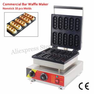 Commercial Mini Bar gaufrier Finger Cookie Machine de gaufrier antiadhésif 10 Moules 1500W 110V 220V Approbation de la CE Livraison gratuite