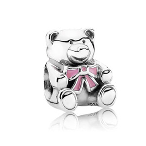 Cute Bear With Pink Paint Charm Bead Fashion Women Jewelry Stunning Design European Style For DIY Bracelet Bangle