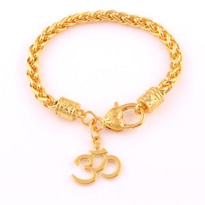 Ciondolo Anniyo India GRANDE Yoga OHM Buddista indù AUM OM Induismo Bracciale a maglie color grano color oro