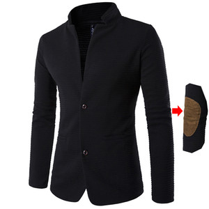 Wholesale-2017 Casual Personalized knitting Stripe Patchwork Sleeves Suit Jacket Autumn And Winter Black Knitted Men's Blazers Plus 5XL