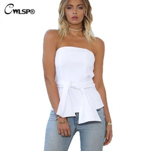 CWLSP 2017 CWLSP Sommer Mode Bogen Slash neck bluse shirts frauen Solide Sleeveless Sexy Beachwear Tops Blusa Femme QL3015