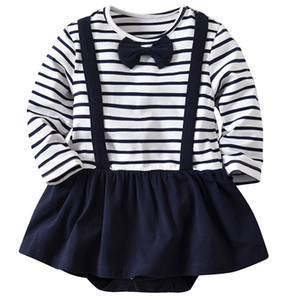 INS Toddler Girl Romper Dress Striped Cotton Long Sleeve Romper Shorts Spring 2020 Baby Rompers 18093002