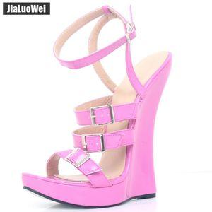 2018 Neue Frauen Sandalen 18 CM Super High heels Wedge sohle Plattform Pumpen Sexy Fetisch Knöchelriemen Unisex Sommer Schuhe Plus Größe