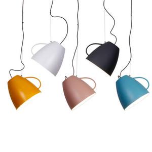 Nordic современный простой чашка модель подвесной светильник красочные macaron металлический абажур подвесной светильник круглый детская комната фойе спальня светильник
