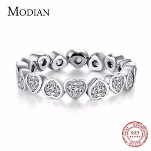 Modian мода классический ювелирные изделия кубический цирконий реального стерлингового серебра 925 Любовь сердца кольцо имитация вечность кольцо ювелирные изделия Y1890706 полос