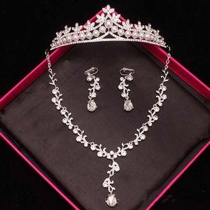 Top Venda Bridal Jewelry Set Três Peças Crown Brinco Colar de Jóias de Bling Bling Festa de Casamento Acessórios