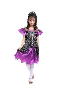 Детский День красивый паук Королева одеваются костюм девушки платья с оголовьем Принцесса платье костюмы Маскарад косплей Хэллоуин костюм