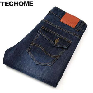 TECHOME New 2016 Jean Hommes Pantalons Jeans Hommes Pantalons Hommes Taille Moyenne Droite Business Casual Style Taille jeans homme Taille Plus 22