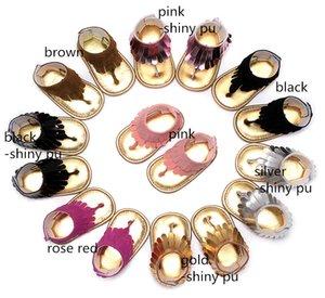 8 colores Las niñas bebés las borlas sólidas de la pu sandalias de la correa los niños pequeños suela suave sandalias de la perilla del dedo del pie niños del verano primeros caminantes lindo 5 tamaños