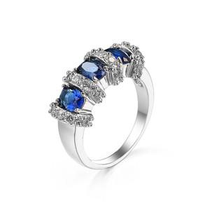 5 Pezzi 1 lotto LuckyShine regalo dell'amico Ovale Blu Topaz argento 925 cristallo placcato Cubic Zirconia anelli Russia americano in Australia Mer