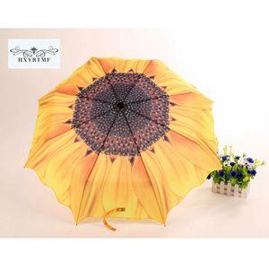 Creativa Girasol Moda Para Mujer 3 Paraguas Plegable Sol / Lluvia Anti-UV Mabu Paraguas Único Manual Flor Parasol Sombrilla