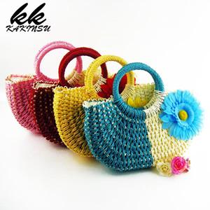 Соломенные сумки тканые женские сумки дизайнер пляж ткачество сумка летние путешествия Сумки женские сумки вязание покупки ручной работы сумка