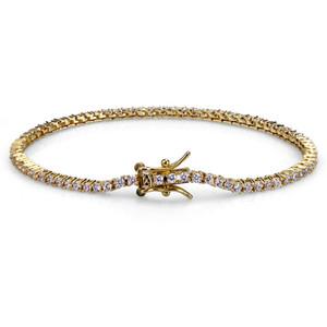 Hip Hop Rock Or Argent Glacé 1Row 2mm Tennis CZ Pierres Bracelet Hommes Femmes Bijoux Bracelets