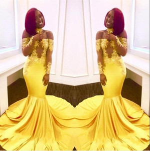 Afrika Siyah Kız Sarı Balo Dresse 2019 Kapalı Omuz Şeffaf Uzun Kollu Vintage Dantel Zarif Mermaid Ünlü Abiye giyim BA7903