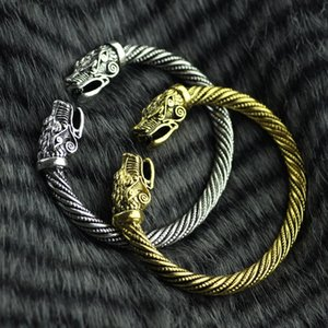 Wicca Amulet Solomon Pagan Jewelry Silver Or Gold Viking Pagan Gothic Wolf Head Pewter Bracelet Norse Jewelry Totem Viking Bracelet KKA1900