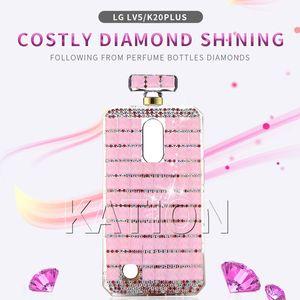 Luxe Longe chaîne de cas 3D diamant pierre pour LG 4 K10 2018 Stylo / K30 Q7 Aristo2 LV3 / MS210 LV5 / MS250 Case bouteille de parfum