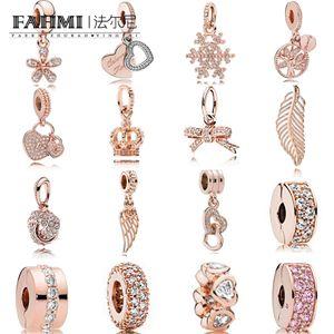 FAHMI 100% 925 Sterling Silver Charm Bloqueio Rose Gold Pendant Septo Bow floco de neve da coroa do coração Temperamento Requintado Moda Feminina Jóias