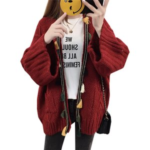 Sweater Cardigan 2018 Thick With Pocket Solid Color Autumn And Winter Loose Korean Version women's Sweaters Vestidos LXJ467
