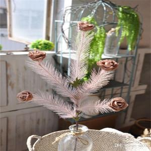 زهرة صغيرة مضاهاة Eather Rose Foamed عملي نقي اللون جاف الزهور باقة حفل زفاف حفل زفاف الديكور 2 25al bb