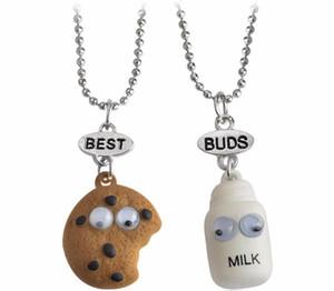 2pcs / lot Best friends nacklace Cookies + pendentif créatif de bouteille de lait pour les chaînes de collier d'amis étudiants