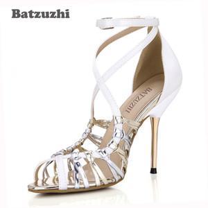 الجملة الفاخرة النمط الإيطالي النساء الأحذية اليدوية الجميلة مثير المرأة الصيف صندل أحذية مثير 10 سنتيمتر الحديد الكعوب المصارع