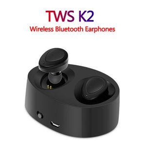TWS K2 Gerçek Kablosuz Bluetooth Kulaklık Stereo Kulaklık Çift Twins Kulaklık Bas Mic Çift Kulakiçi Kulaklıklar USB Şarj Kutusu