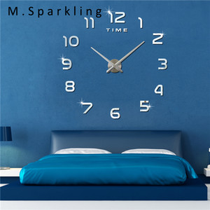 [M.Sparkling] 3D DIY Digital Wall Clock New Design Watch Home Decor Gift Modern Self Adhesive Electronic Large Wall Clocks 3M004