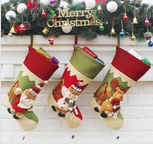 9 estilo de dibujos animados de Santa Claus alces muñeco de nieve árbol chrsitmas adornos para interiores o al aire libre nuevo estilo bolsa de regalo de lona niños bolsas de fiesta de navidad