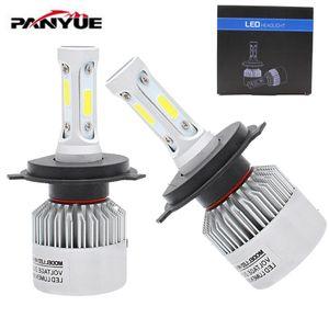 2Pcs H4 LED H7 H11 H1 H3 COB 칩 S2 자동차 자동차 전조등 72W 8000LM 높은 낮은 빔 전체 자동차 램프 6500K 12V