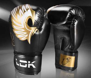 Los adultos de alta calidad mujeres / hombres los guantes de boxeo de cuero 10oz 6OZ tailandés Boxe De Luva mitones Sanda Equipos Equipo de Protección Kick Boxing Lucha