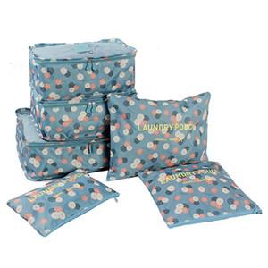여자를위한 6pcs / set 화장 용 가방 여행 부대 방수 대용량 수화물 옷 Tidy Portable Organizer 화장 용 케이스