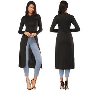 Весна осень с длинным рукавом черный длинные футболки блузка женская мода открытая вилка горячая черный Bodycon Длинные блузки футболки S M L XL