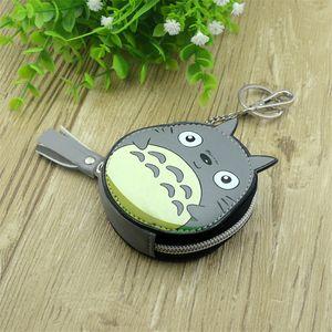 Meninos Meninas dos desenhos animados Anime Meu Vizinho Totoro Cadeia Grey Round White Coin Purse PU Bag Com Chave