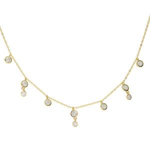 Cz diamante gota encanto collar gargantilla clavícula bisel redondo cz encanto encantador adorable regalo de las mujeres 925 joyas de plata esterlina