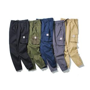 Cinq-couleur 2019 plus - taille hommes de nouveau Printemps / Automne Pantalon cargo Tout-Allumette Multi-poches Maigre ceinture Crayon Pantalon S-5XL