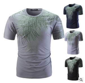 2018 foreign trade new men's round neck short sleeved T-shirt, large leaf print, slim T-shirt, direct selling factory direct sale.
