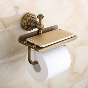 Porte-papier européen antique salle de bains Porte-papier avec laiton étagère mobiles cuivre Porte-papier du rouleau