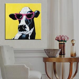 Peint à la main abstrait animaux verre la vache laitière peinture à l'huile sur toile de haute qualité moderne Home Decor Wall Art a115