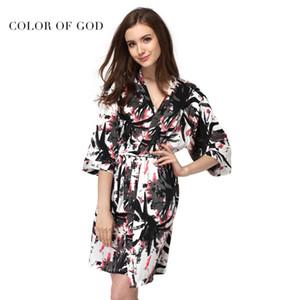Hohe Qualität Silk Robe Nachtwäsche Weibliche Nachtkleid Kimono Nachtwäsche Tinte Malerei Blume Bademantel Pyjamas Für Frauen Badekleid