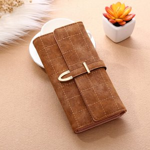 Мода дама Женщина Vintage Длинного Кожезаменитель Trifold Кошелек монеты сумка кошелек