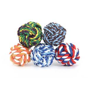 Prodotti per animali domestici Corda del nodo di masticazione del cotone Pet Dog Toys Interactive intrecciato a forma di palla di cane da compagnia a forma di palla di cotone resistente