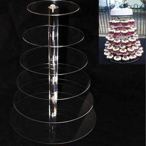 6 المستوى أكريليك كب كيك تقف جولة كعكة تقف لحفل زفاف كعكة عرض الديكور حامل كب كيك ZA5613