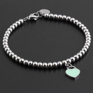 Pulsera de acero caliente clásica de titanio pulsera del corazón de la joyería para las mujeres del encanto pulsera de cuentas de joyería Pulseiras