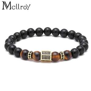 Mcllroy Charms Bracelet Men Pave Setting 블랙 CZ 육각형 천연석 비즈 팔찌 Bangles pulseira masculina men jewelry