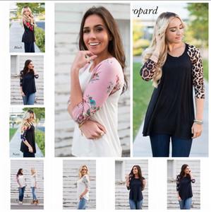 Frauen-Blument-shirt 3/4 Hülsen-Oansatz beiläufige Blumendruck-Hemd-Leopard-Bluse 6 Arten 50pcs OOA4148