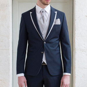 Tuxedos De Marié De Mariage Bleu Marine À Deux Boutons Garniture Fit Trois Pièce Hommes Costumes 2018 Gris Clair Veste Pantalon Gilet