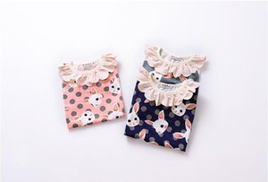 2018 cute Spring t-shirt for baby girls flower collar longsleeve cotton soft children clothes free shipping
