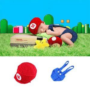 Baby Photography Props Baby Boys Crochet Mario Bros Newborn Photo Outfits Cartoon Costume 0-4Months
