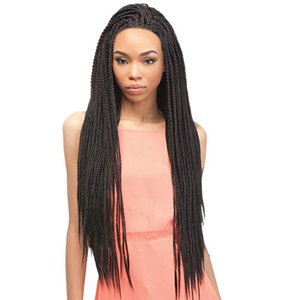 30'' Crochet Box Braids Wig Lace Front Synthetic Wigs for Black women Crochet Briaids Adjustable Size braided lace wigs