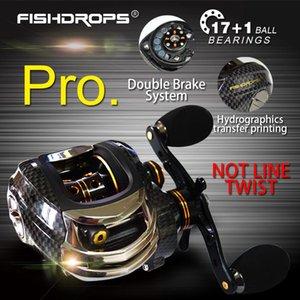 Fishdrops 17 + 1BB Рыболовная катушка Baitcasting 7,0: 1 Приманка для приманки Левая / правая рука с односторонним сцеплением Рыба Pesca Reel